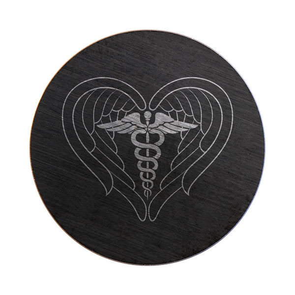 PB9336 Large Black Plate with Medical Symbol and Heart