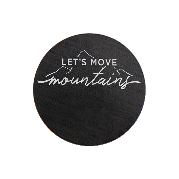 "PB9323 Med Black ""Let's Move Mountains"" Plate"