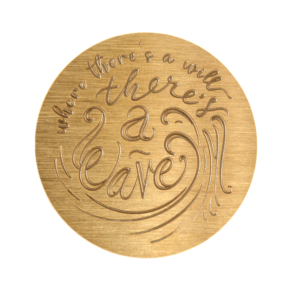 "PG9331 Large Gold ""Where There's a Will There's A Wave"" Plate"