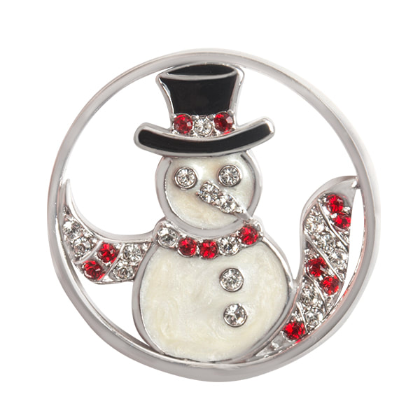 WN1040 Large Silver Crystal & Enamel Snowman Window Plate