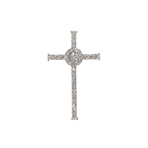 WN1045 Silver Pave Cross Window Plate for the Cross Locket